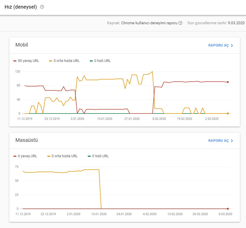 Search Console - Site hız raporu
