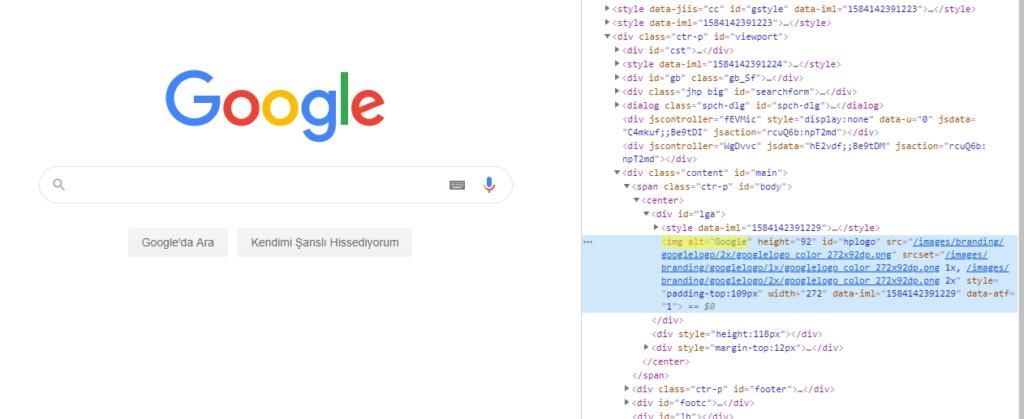 Google logosunun alt etiketi